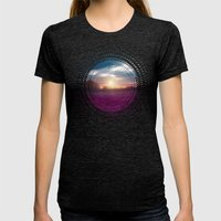 Sunset I C. Womens Fitted Tee Tri-Black SMALL