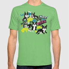 Boston Terrier Pattern Mens Fitted Tee Grass SMALL
