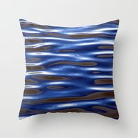 Blue Corrugated Water Throw Pillow