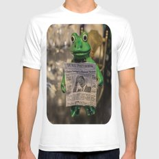 Froggy Reads the Wall Street Journal White SMALL Mens Fitted Tee