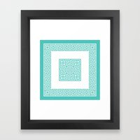 Greek Key Turquoise Framed Art Print
