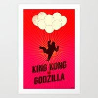 King Kong vs. Godzilla Art Print