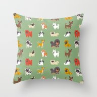 Throw Pillow featuring ASIAN DOGS by DoggieDrawings