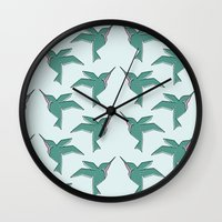 Origami Hummingbirds Wall Clock