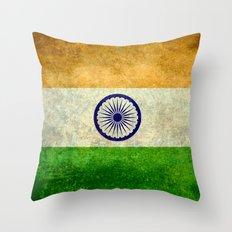 Flag of India - Vintage retro style Throw Pillow