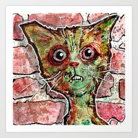 Chester the zombie cat Art Print