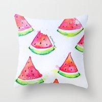 Watermelon Watercolor Pr… Throw Pillow