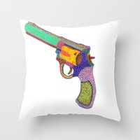 gun shoots color Throw Pillow