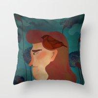 lady with bird Throw Pillow