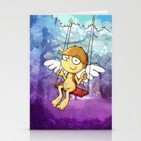 Angel boy on a swing Stationery Cards