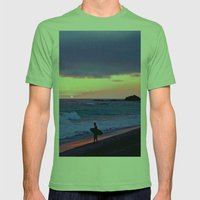 Sunset Skimboarder Mens Fitted Tee Grass SMALL