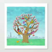 Tree Readers Canvas Print