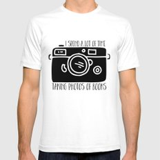 I Spend a Lot of Time Taking Photos of Books Mens Fitted Tee White SMALL