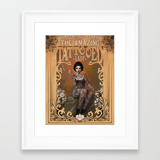 The Amazing Tattooed Lady Framed Art Print