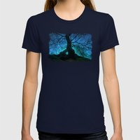 Tree under a spangled sky (light) Womens Fitted Tee Navy SMALL