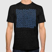Half Knit Navy Mens Fitted Tee Tri-Black SMALL
