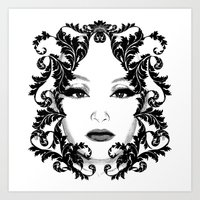 Black and white floral face ornament Art Print