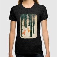 Winter Deer Womens Fitted Tee Tri-Black SMALL