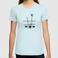 Cats vs Birds Womens Fitted Tee Light Blue SMALL
