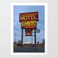Art Print featuring Classic motel sign by Vorona Photography