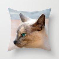 A Siamese Cat Study Throw Pillow