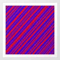 Lines 323 - Blue and Red Diagonals Art Print