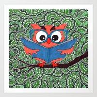 Owl Drawing Meditation Art Print