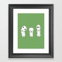 Three wise Kodamas Framed Art Print