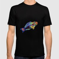 Rainbow Parrot Fish Mens Fitted Tee Black SMALL