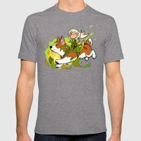 Corgi and Fairy Mens Fitted Tee Tri-Grey SMALL