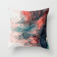 Watercolor Dark Green & … Throw Pillow