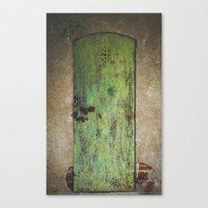 Rusty Green Door Canvas Print