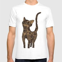 Giraffe Cat. Mens Fitted Tee White SMALL