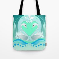 Two Swans In Love Tote Bag