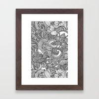 Flowers and doodles Framed Art Print