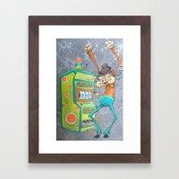 Skinny Pig playing Slot Machine Framed Art Print