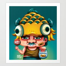 Uncle Gold Fish! Art Print