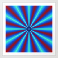 Red And Blue Pleats Art Print