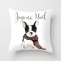 Joyeux Noel Frenchie Dog Throw Pillow