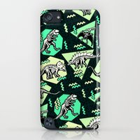 iPod Touch Cases featuring 90's Dinosaur Skeleton Neon Pattern by chobopop