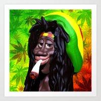 Rastaman Marijuana Caric… Art Print