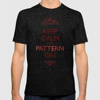Keep Calm and Pattern On Mens Fitted Tee Tri-Black SMALL