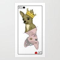 Dog & Cat Card  Art Print