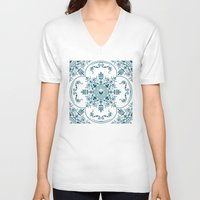 Decorative Pattern in Creme and Blue Unisex V-Neck