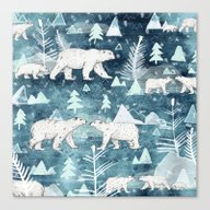 Canvas Print featuring Ice Bears by Sandra Dieckmann