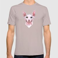 Sphynx Cat Portrait Mens Fitted Tee Cinder SMALL