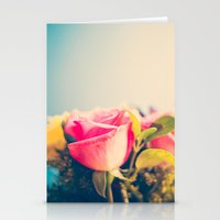 Change Is Hard, Pink and Yellow Roses on Bkue  Stationery Cards