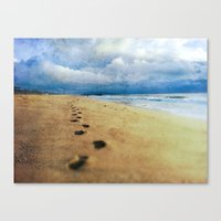 Footprints in the Sand (California Beach) Canvas Print