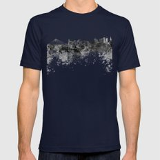 Warsaw skyline in black watercolor Mens Fitted Tee Navy SMALL