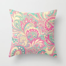 Pink Turquoise Girly Chic Floral Paisley Pattern Throw Pillow